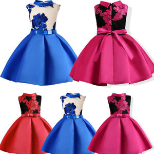 a3bfc87100c5 Image is loading Child-Girls-Princess-Dress-Kids-Party-Flowers-Embroidery-