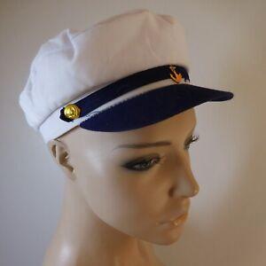 Casquette-ancre-marine-blanc-bleu-femme-homme-vintage-BURGESS-HATS-N6136