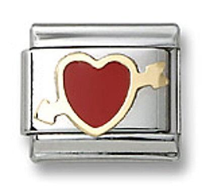 18k Gold Hand Painted Enamel Heart Italian Charm Bracelet Stainless Steel Link