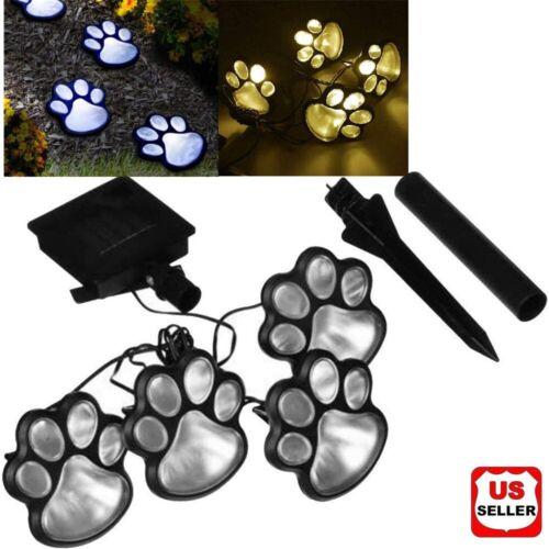 4 x Solar Dog Animal Paw Print Lights Garden Outdoor LED Path Lawn Decor Walkway