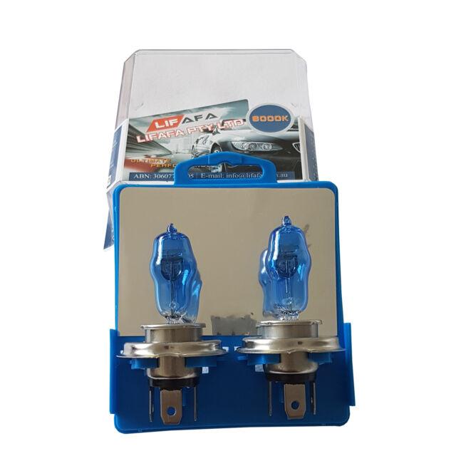 1 Pair H4 Headlight Globes Car Light Bulbs 100 90W 6000K 12V Xenon White Light