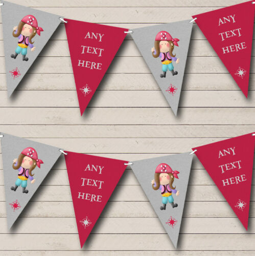Girl Pirate Pink Childrens Party Banner