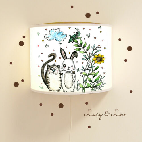 Leseschlummerlampe Katze und Hase mit Wandtattoo Ls18