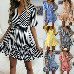 Women-039-s-Sexy-Deep-V-Neck-Bandage-Beach-Short-Sleeve-Wrap-Ruffle-Hem-Mini-Dress