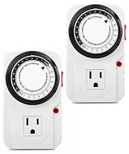 2x 24 H Mechanical Grounded Electrical Timer AC Outlet Plug ON/OFF Socket Switch