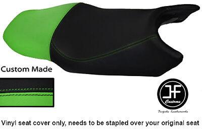 BLACK & LIGHT GREEN VINYL CUSTOM FITS YAMAHA FZ6 600 04-09 DUAL SEAT COVER ONLY