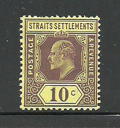 Album Treasures Straits Settlements Scott # 116 10c Edward VII Mint NH