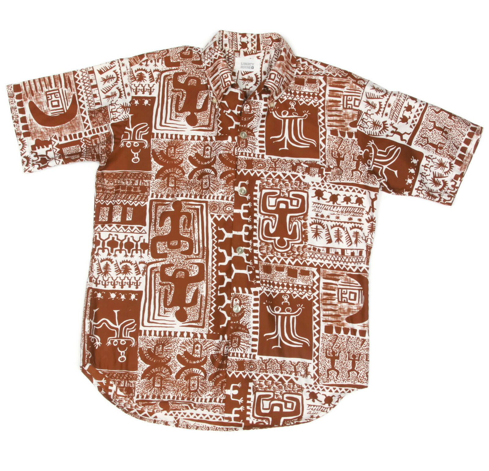 Vintage Liberty House Tribal Tiki Hawaiian Mens Shirt Brown White size S M