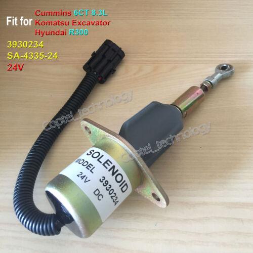 Fuel Shut Off Solenoid SA-4335-24 24V for CUMMINS 6CT 8.3L KOMATSU Excavator