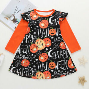Toddler-Kids-Baby-Girl-Halloween-Cartoon-Print-Princess-Long-Sleeve-Dress-Outfit