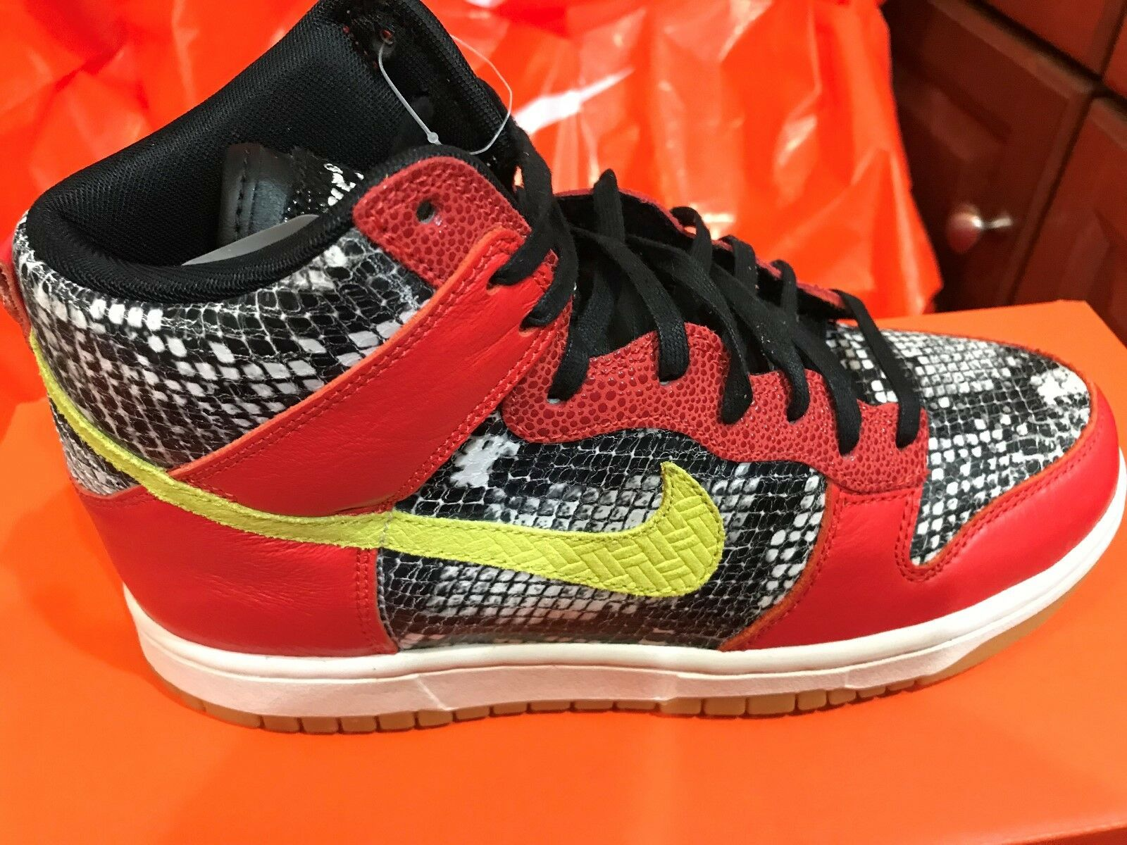 New Nike Womens Dunk Hi LX Lux Shoes Sneakers 881233-800 sz 7 Python FREE SHIP