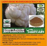 Lion's Mane Mushroom Usda Certified Organic 20:1 Extract Powder 50gm