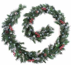 Christmas Garland Deluxe Frosted Pine Cones Berries Led Lights Best Artificial Ebay