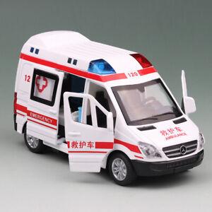 Krankenwagen-1-36-Metall-Die-Cast-Modellauto-Spielzeug-Weiss-Model-Pull-Back