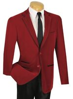 Men's 2 Button Slim-fit Red Velvet Blazer W/ Faux Leather Trim