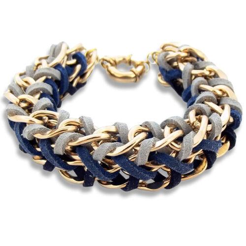 Armband Leder Gold Blau Grau Breit NOBEL SCHMUCK