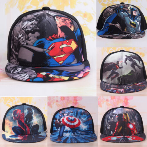 Kids Boys Superhero Baseball Cap Hip Hop Snapback Sport Visor Adjustable Sun Hat