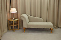 52 Chaise Longue In A Mink / Beige Dimple Fabric - Free Uk Mainland Del