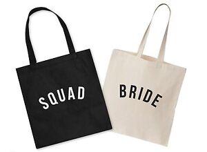 Bride Squad Wedding Canvas Tote Bag Bridal Shower Hen Do To Be Bridesmaid Gift Einen Effekt In Richtung Klare Sicht Erzeugen Kleidung & Accessoires