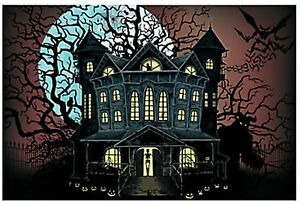 9 FOOT Haunted House Halloween Wall Mural Scene Setter Photo