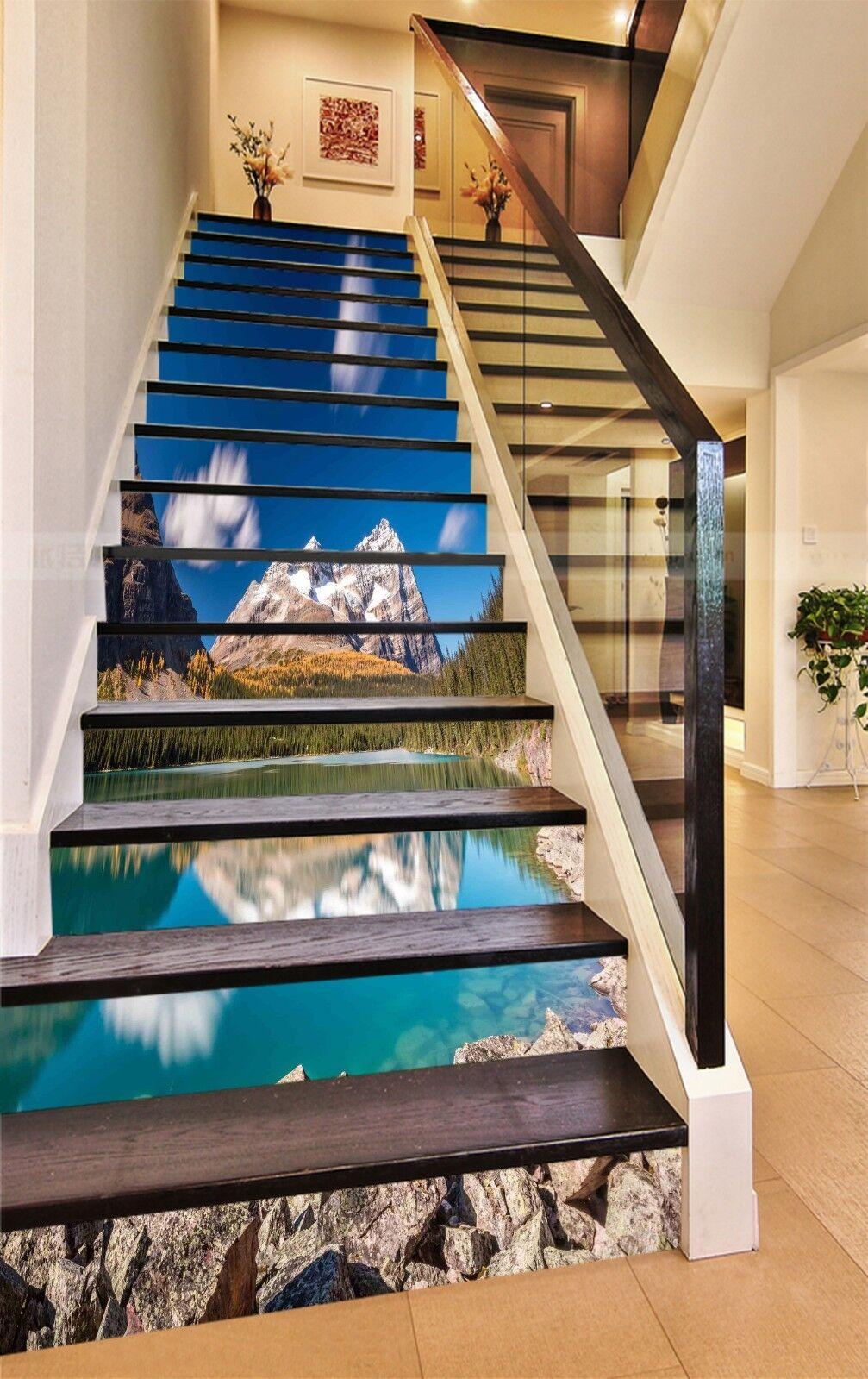 3d Bleu Lac 2131 Stair Risers Décoration Papier Peint Vinyle Autocollant Papier Peint De