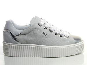 Caricamento dell immagine in corso Nero-Giardini-P805282D-scarpe-donna -sneakers-pelle-argento- e989a5a5fe8