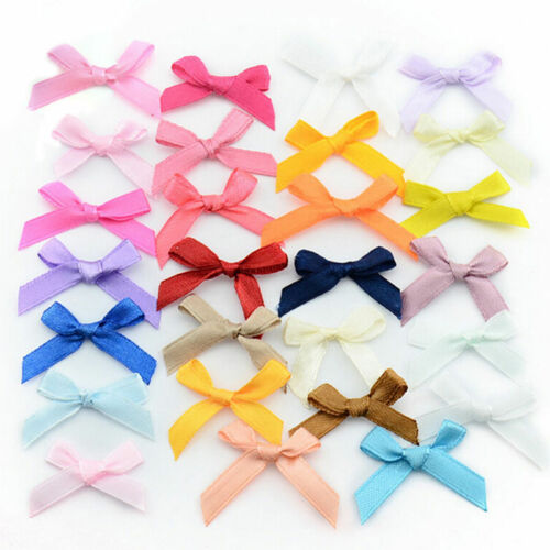 500 Pcs//lot Mini SMALL Ribbon Bows Assorted Colours Satin /_T