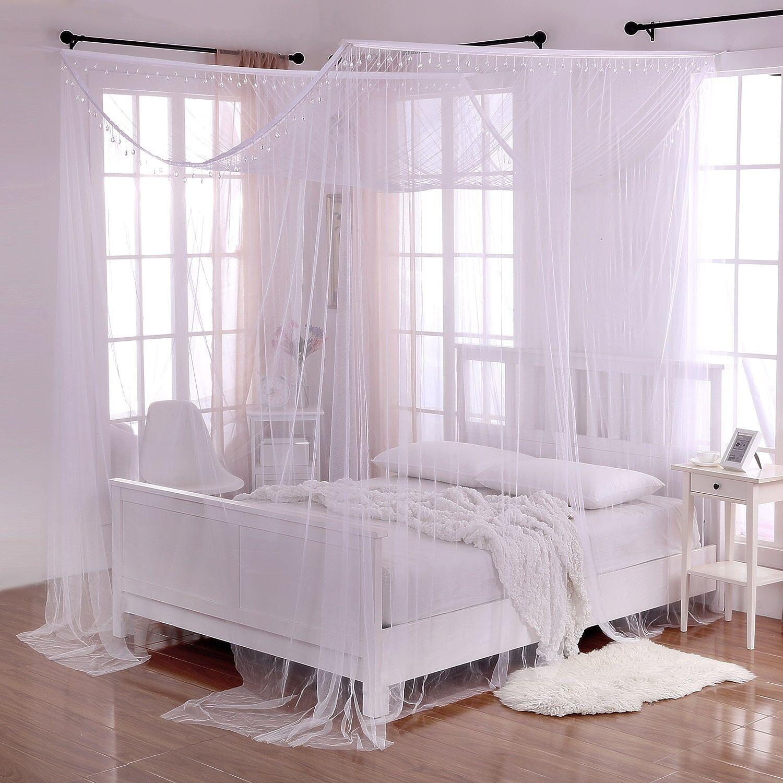 4 Post Weiß Romantic King Queen Größe Bed Canopy Mosquito Net Bedroom Decoration