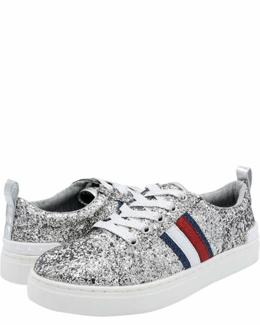 689e052e0 NEW Girls Tommy Hilfiger Sneakers Rae Chunky Silver Sparkle Shoes Glitter
