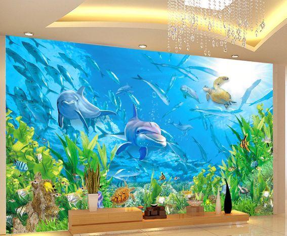 3D Unzählige Fische 1657 Fototapeten Wandbild Fototapete BildTapete Familie