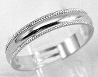 18kt White  Gold Plated 4mm Ribbed Wedding Band Ring