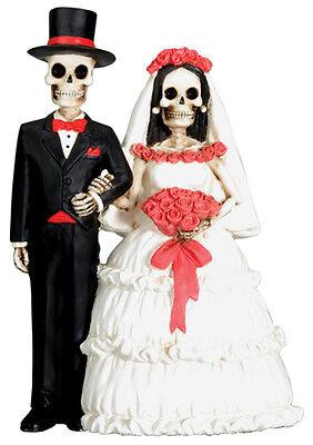 DOD SKELETON/SKULL COUPLE HALLOWEEN WEDDING CAKE TOPPER
