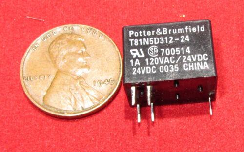 450mW SPDT 125V AC 1A T81N5D312-24 i Potter /& Brumfield 24V DC Relay 5 pcs