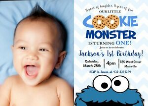 Marvelous Cookie Monster One Year 1St Birthday Party First Birthday Boy Funny Birthday Cards Online Alyptdamsfinfo