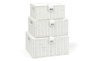 Storage-Basket-Hamper-Resin-Woven-White-Set-of-3-Box-With-Lid-amp-Lock