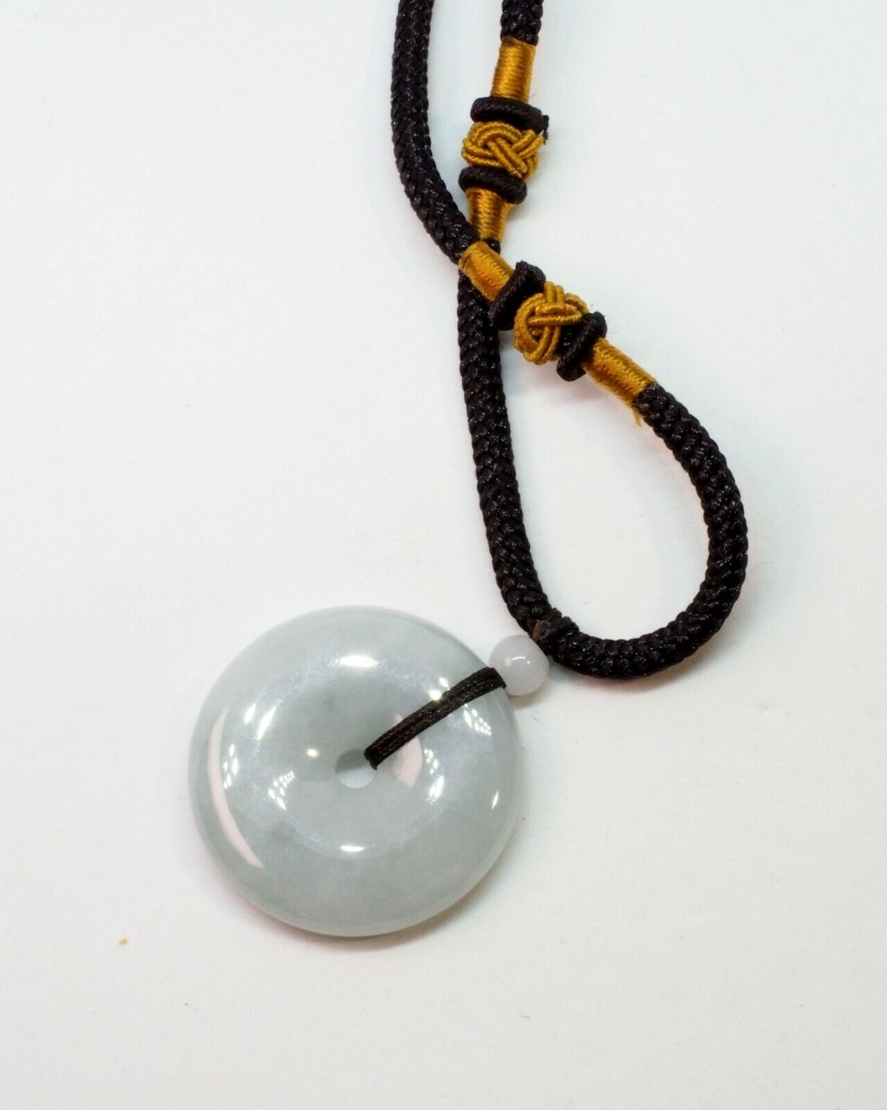 Necklace Natural Grade A Jade Chinese Jewelry Light Green Burma Burmese Gemstones 13.5mm Jadeite Jade Donut Pendant