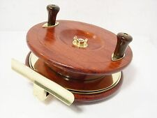 "Vintage Antique Wooden & Brass Reuben Heaton 5"" Starback Fishing Reel"