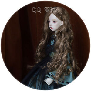 QQ-74-Long-Big-Waves-Brown-BJD-Doll-Synthetic-Mohair-Wig-1-3-8-9inch
