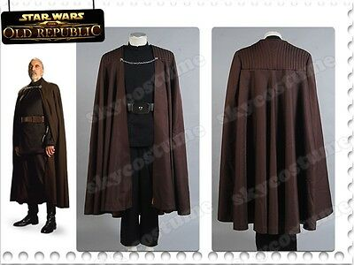 Star Wars Count Dooku Cosplay Costume+Cloak/Robe+Belt Sith Lord Darth Tyranus US
