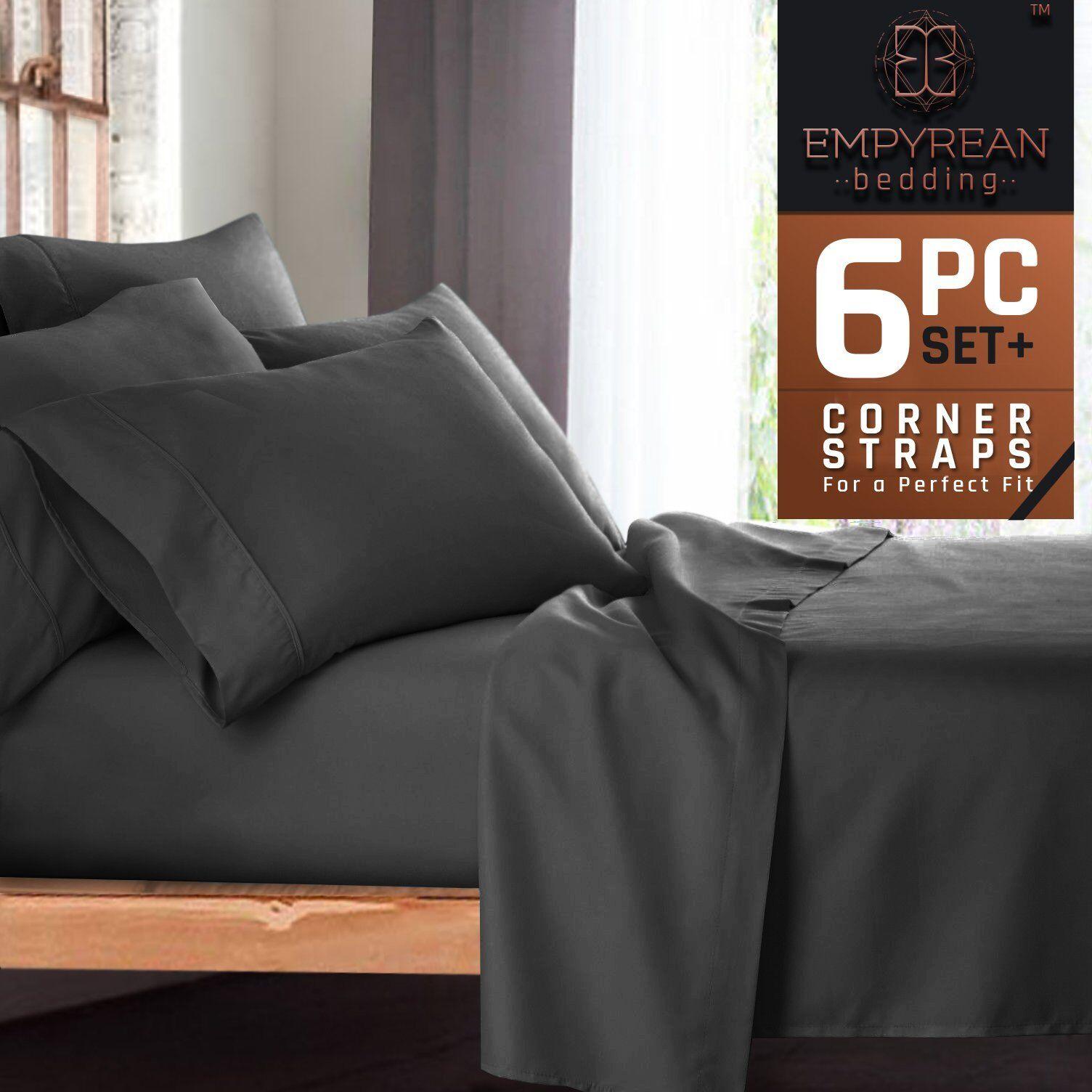 Premium 6-Piece Bed Sheet  Pillow Case Set – Luxurious  Soft Queen Size Linen,