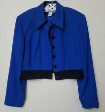 Vintage CHRISTIAN DIOR Blue/ Black Long Sleeve Cropped Blazer Sz 14