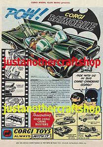 Corgi-Jouets-267-Batman-Batmobile-1966-Grande-Taille-A3-Affiche-Annonce-Depliant