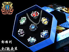 Katekyo Hitman Reborn Vongola Cospaly 7 PCS Ring + Necklace Set New in Box