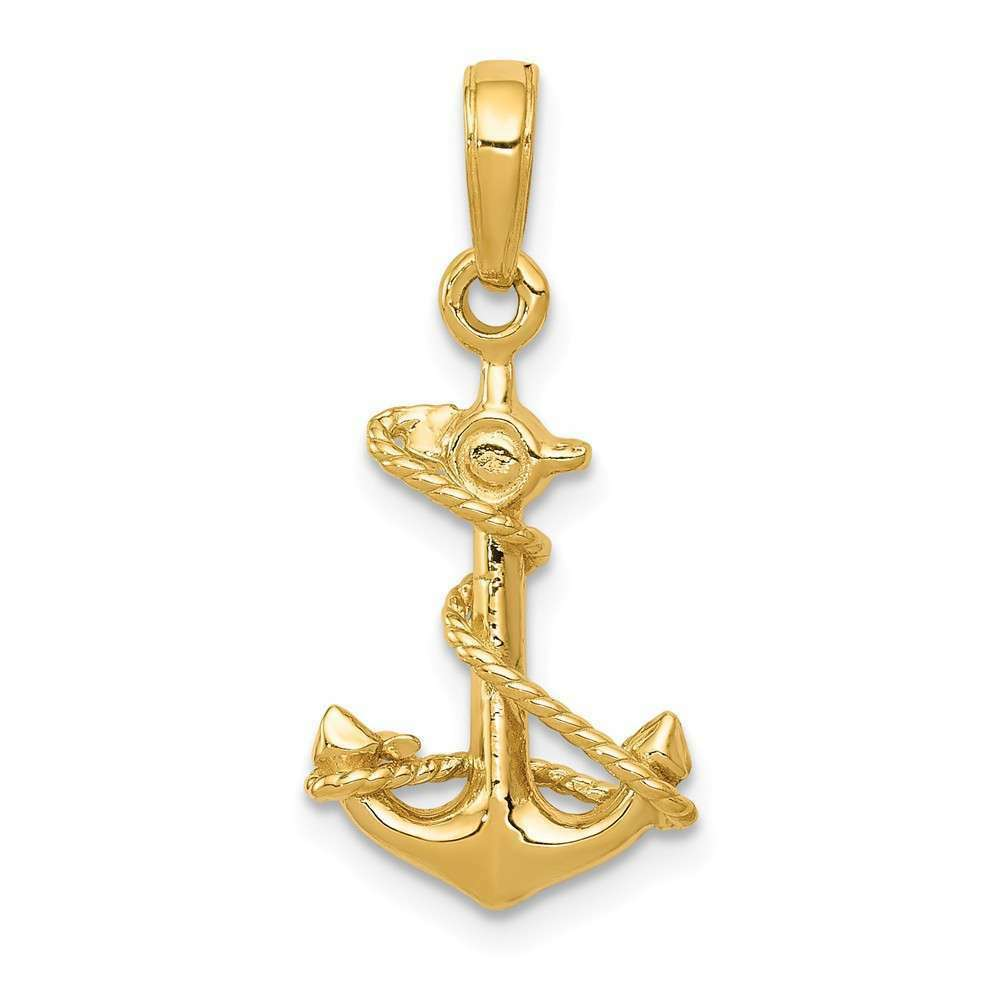 14K Yellow gold 3-D Anchor w  Rope Pendant C3343