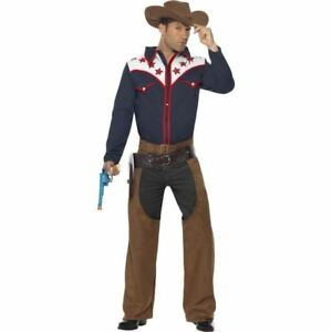 Image is loading Smiffys-Rodeo-Cowboy-Costume-Men-Blue-Chest-38-  sc 1 st  eBay & Smiffys Rodeo Cowboy Costume Men - Blue - Chest 38