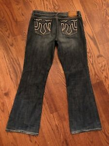 32-x-31-Women-039-s-MEK-Denim-Mulholland-Boot-Cut-Intricate-Stitch-Flap-Pocket-Jeans