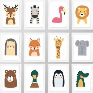 Details About Animal Prints For Nursery Jungle Baby Room Pictures Hand Drawn Safari Animals