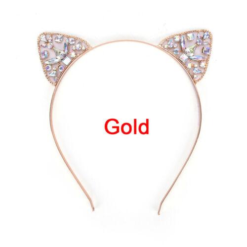 Mädchen Metall Strass Katze Ohr Stirnband Haarband Kostüm Party CosplayPDH W0 YT