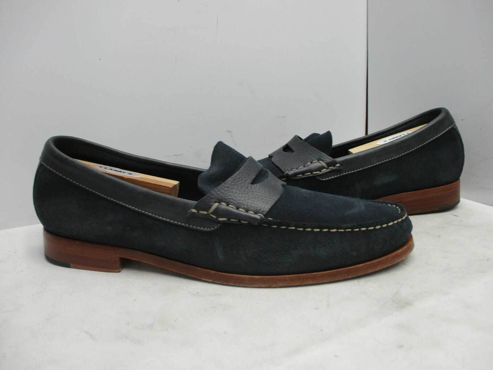 Johnston & Murphy Blue Suede Leather Slip On Loafers Mens Sz 11.5 M Style 201499