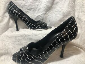 Enzo Angiolini 'Maylie' black & white leather peep toe snake print heels 7.5M